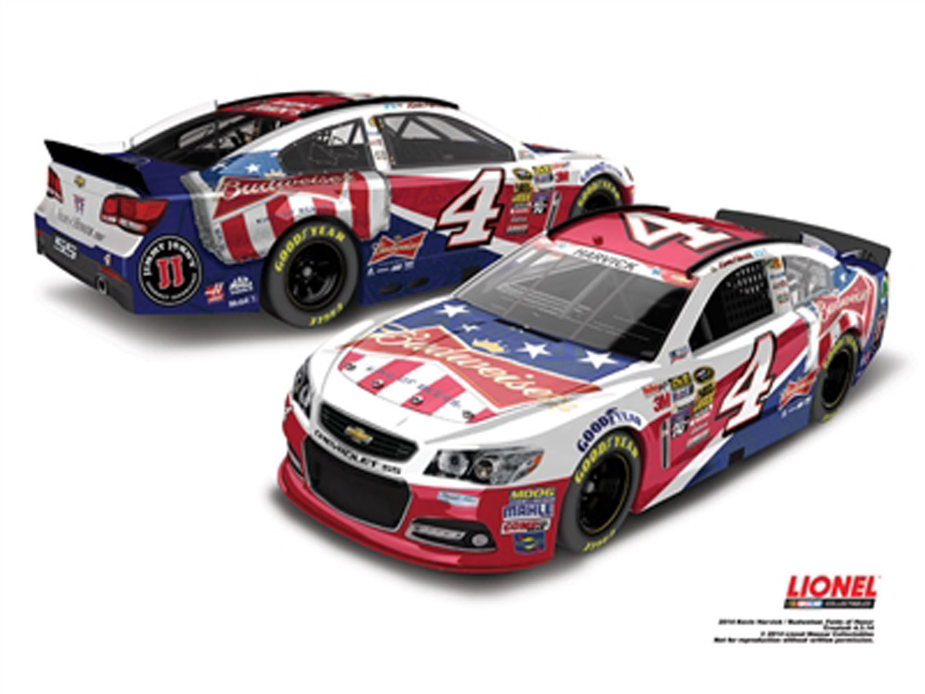 2014 Kevin Harvick #4 Budweiser Folds of Honor 1:24 Diecast Car