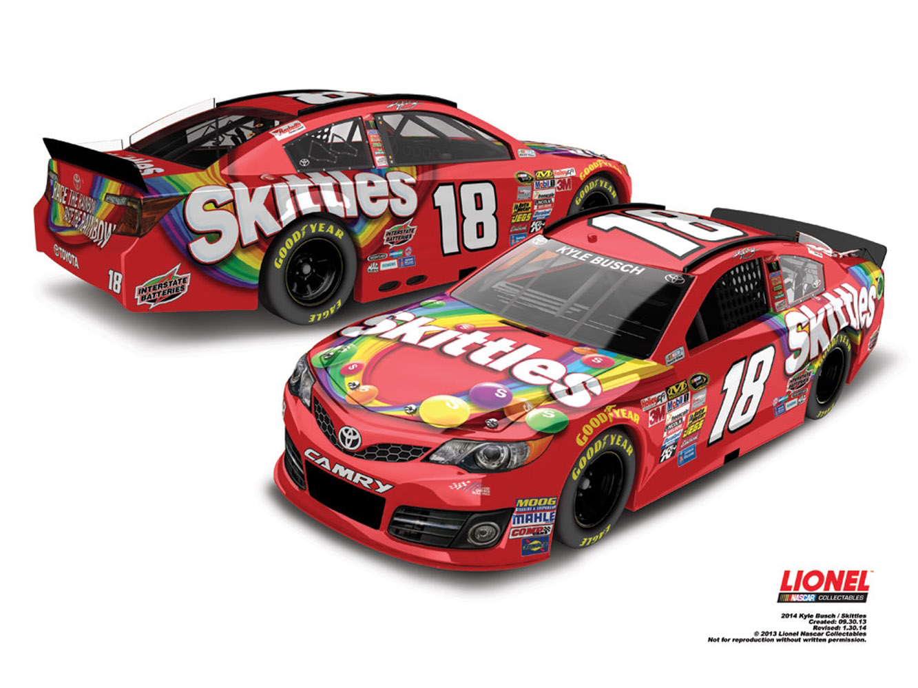 2014 Kyle Busch #18 Skittles Color Chrome 1:24 Diecast Car