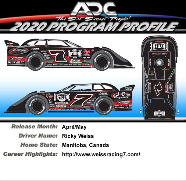 2020 Ricky Weiss # 7 1/64 Dirt Late Model Diecast Car.