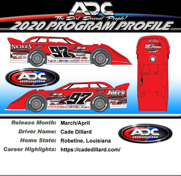 2020 Cade Dillard #97 1/64 Dirt Late Model Diecast Car.