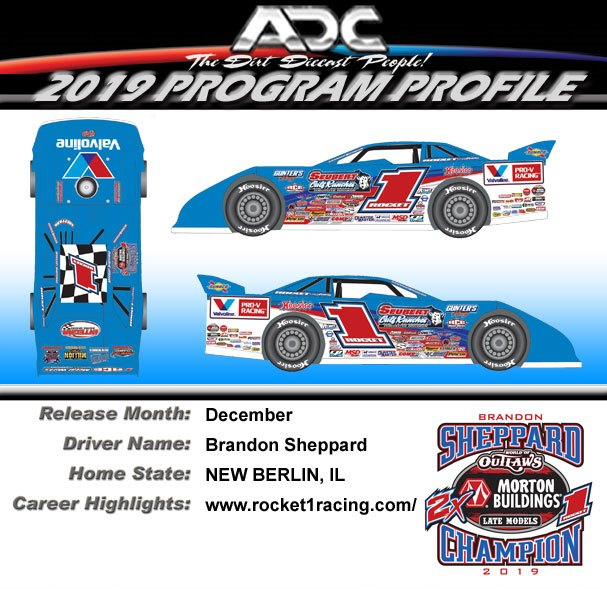 2019 Brandon Sheppard #1 2-Time Champ Dirt Late Model 1:64 Diecast Car