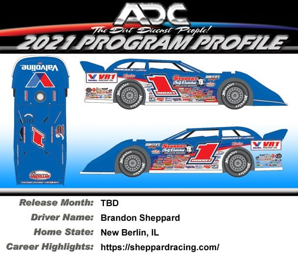 2021 Brandon Sheppard #1  Dirt Late Model 1:24 Diecast Car