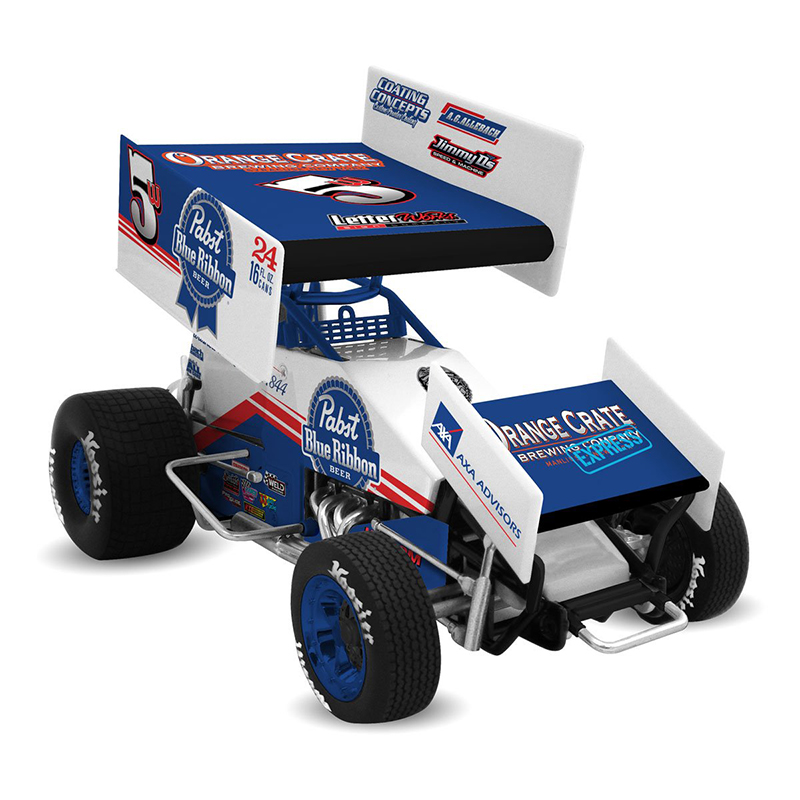 2017 Lucas Wolfe #5w Pabst Blue Ribbon 1/18 DieCast Sprint Car.