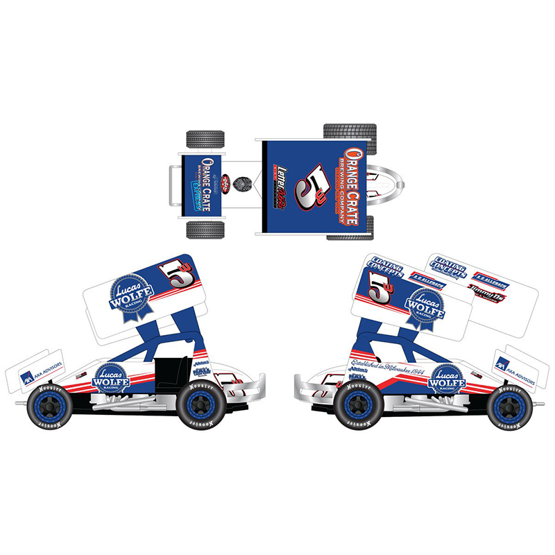 2017 Lucas Wolfe #5w Pabst Blue Ribbon 1/64 DieCast Sprint Car.