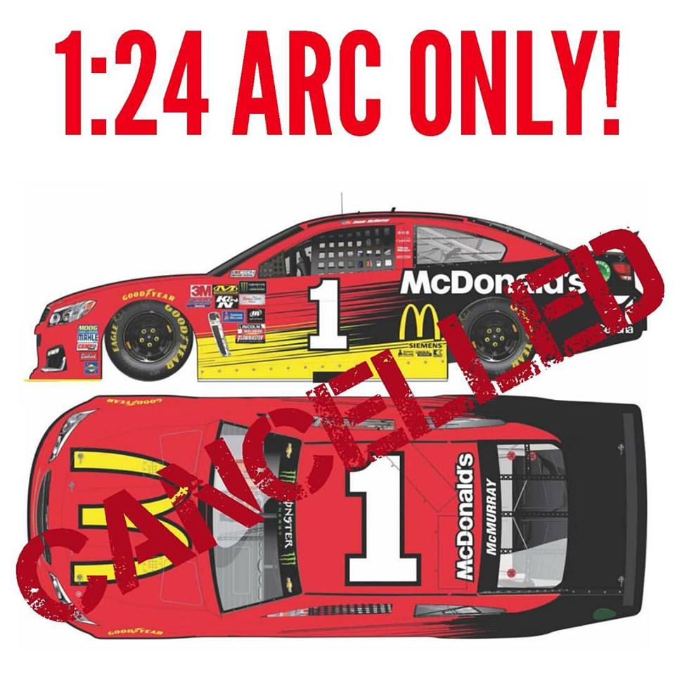 2017 Jamie McMurray #1 McDonalds 1:24 HOTO Diecast Car