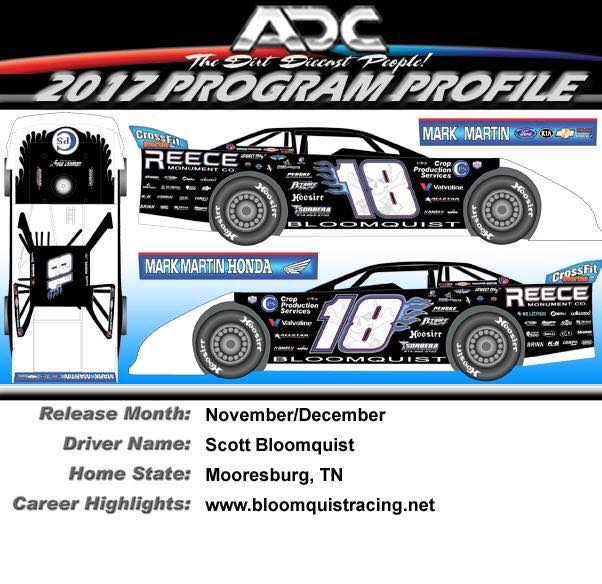 2017 Scott Bloomquist #18 Dirt Late Model 1/64 Diecast Car