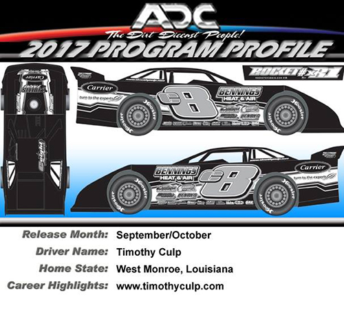 2017 Timothy Culp #C8 1/24 Dirt Late Model Diecast Car
