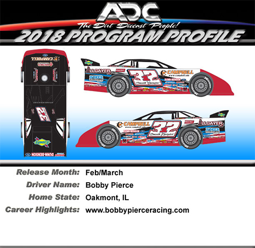 2018 Bobby Pierce #32 1/64 Dirt Late Model Diecast Car