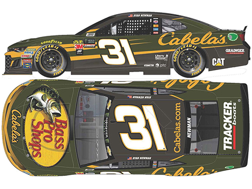 2018 Ryan Newman #31 Cabelas Color Chrome 1:24 Diecast Car