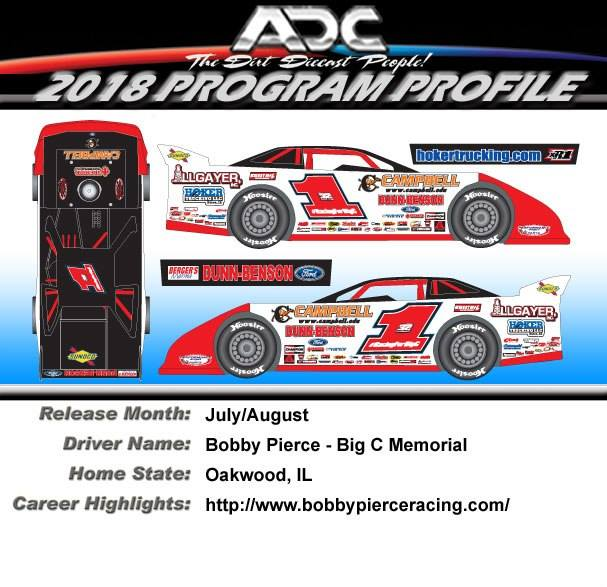 "2018 Bobby Pierce #1 ""Big C Memorial"" 1/64 Dirt Late Model Diecast Car"