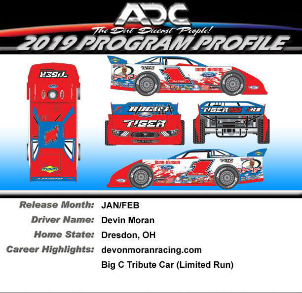 2019 Devin Moran #1 Big C Tribute 1/64 ADC Dirt Late Model Diecast Car