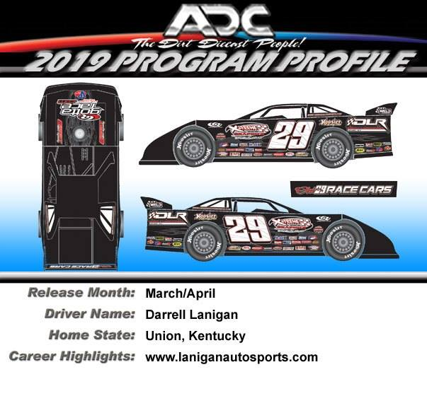 2019 Darrell Lanigan #29 1/64  Dirt Late Model Diecast Car.