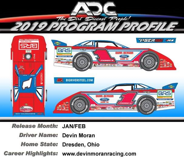 2019 Devin Moran #1 1/64 ADC Dirt Late Model Diecast Car