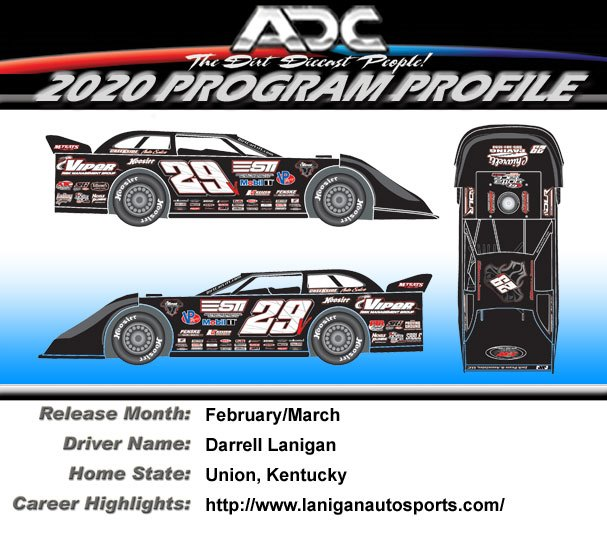 2020 Darrell Lanigan #29 1/64  Dirt Late Model Diecast Car.