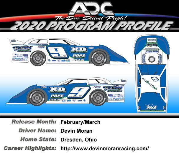 2020 Devin Moran #9 1/24 ADC Dirt Late Model Diecast Car