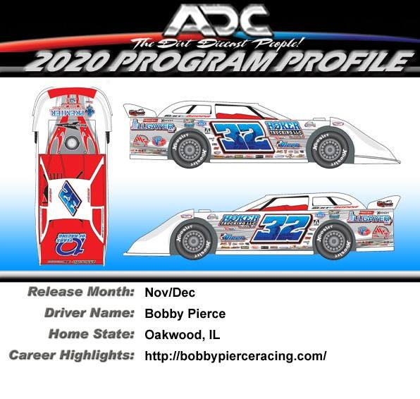 2020 Bobby Pierce #32 10TH ANNIVERSARY 1/24 Dirt Late Model Diecast Car