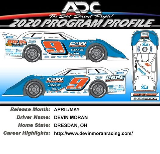 2021 Devin Moran #9 1/64 ADC Dirt Late Model Diecast Car