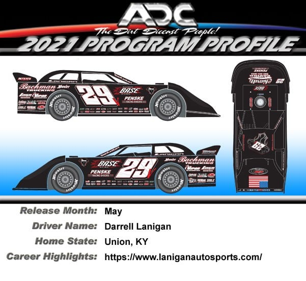 2021 Darrell Lanigan #29 1/64  Dirt Late Model Diecast Car.